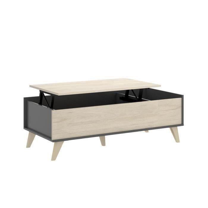 Table basse - Décor graphite et Chene - L 99 x P 60 x H 41 cm - NESS