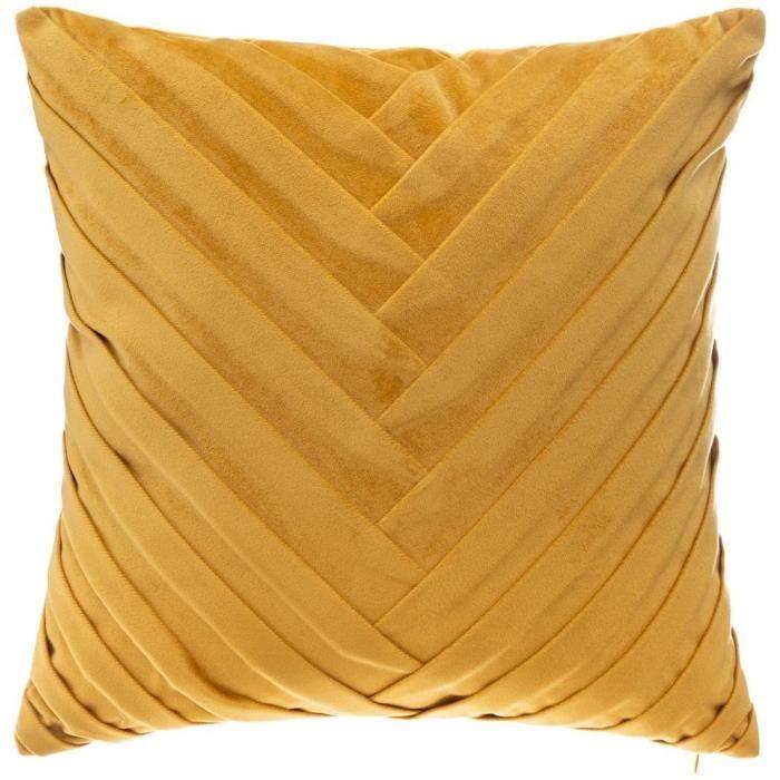 Cuscino in velluto intrecciato - 40 x 40 cm - Ocra