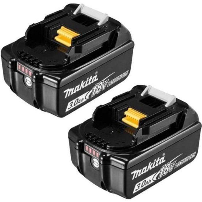 MAKITA Confezione da 2 batterie agli ioni di litio da 18 V 3 Ah con indicatore di carica