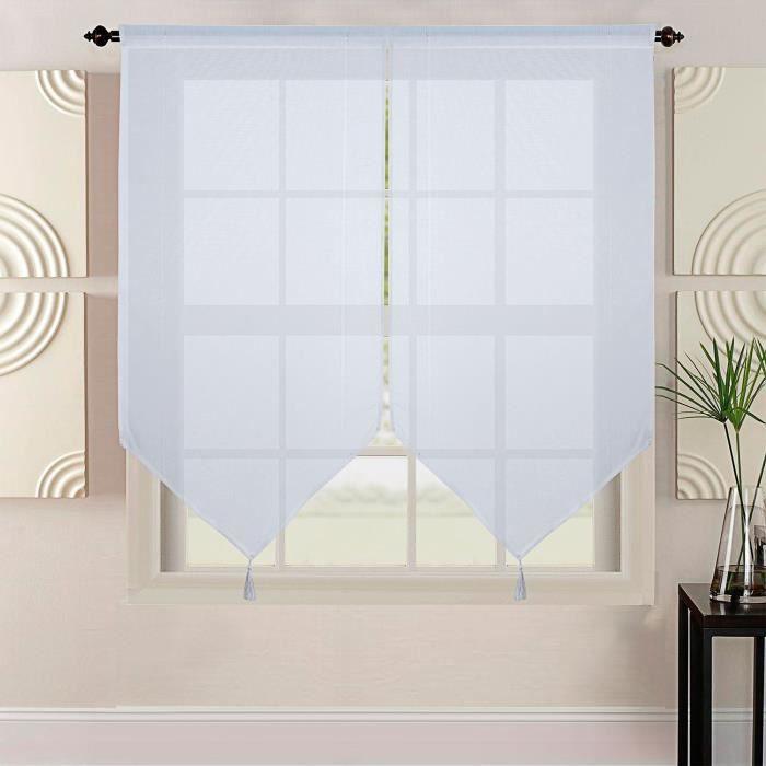 HOMETREND Coppia di vetri extra lunghi effetto lino intrecciato - 60 x 220 cm - Bianco