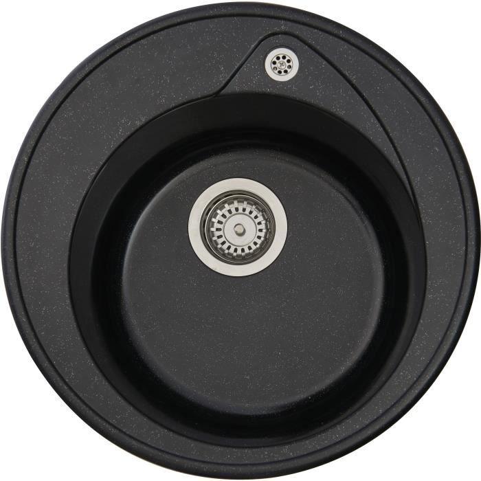 STRADOUR Lavello incasso RONDA, in SMC BLACK GLITTER - 06, 1 vasca, dim. Ø 49 cm, scarico manuale