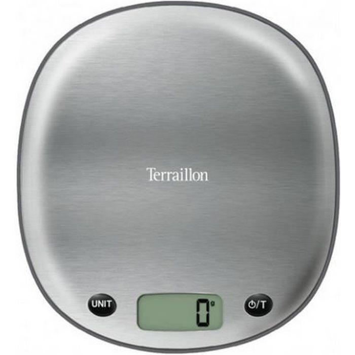 TERRAILLON Bilancia elettronica da cucina Macaron - 5 kg - Acciaio inox liquirizia