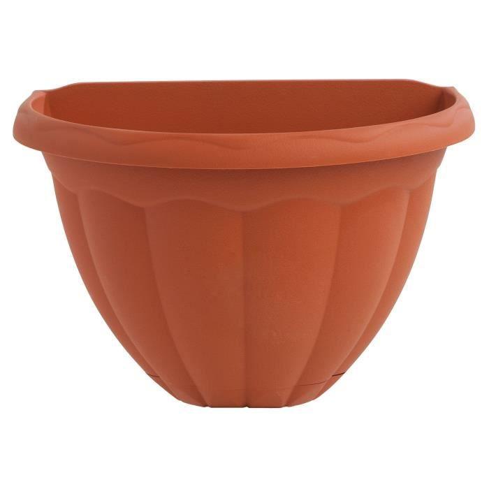 PLASTIKEN Pot demi cercle 30 cm soucoupe Integree - Terracotta
