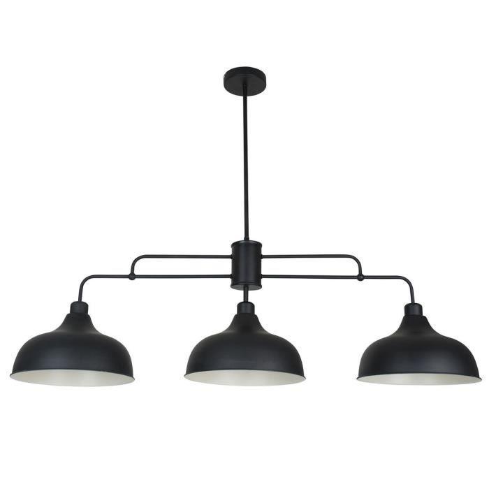 COREP Lampada a sospensione Lincoln in metallo - Ø 28,50 cm - H 82 cm - E27 - 60 W - Nera