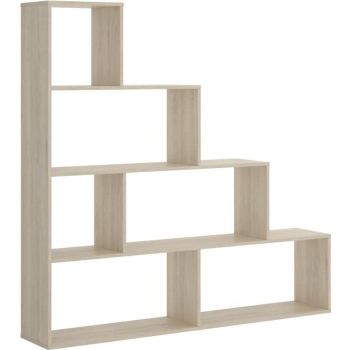 Bibliotheque 6 Compartiments - Décor chene - L 145 x P 29 x H 145 cm - TEN