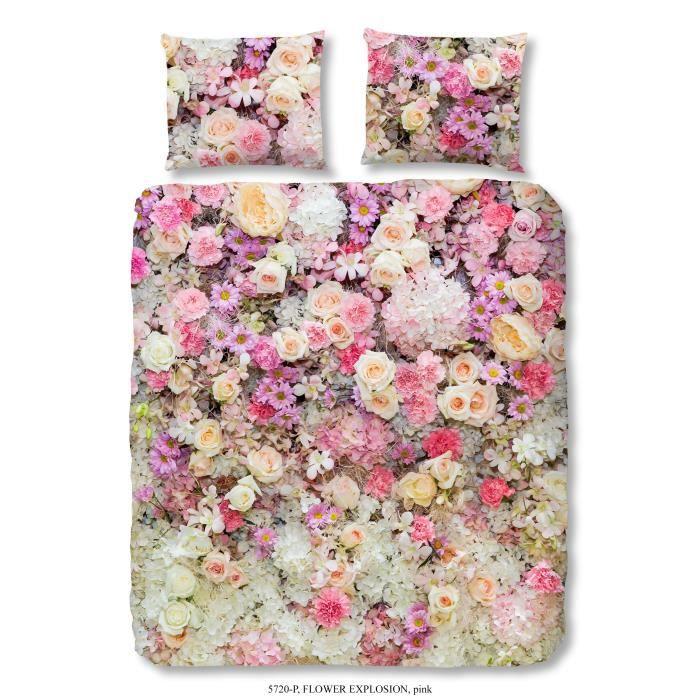 GOOD MORNING Parure de couette Coton Flowers - 1 housse de couette 220x240cm + 2 taies d'oreiller 60x70cm - Multicouleurs