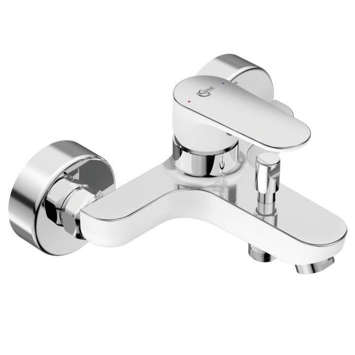 Miscelatore vasca-doccia a parete con piano a ribalta - TYRIA - Bianco / Cromo - Ideal Standard