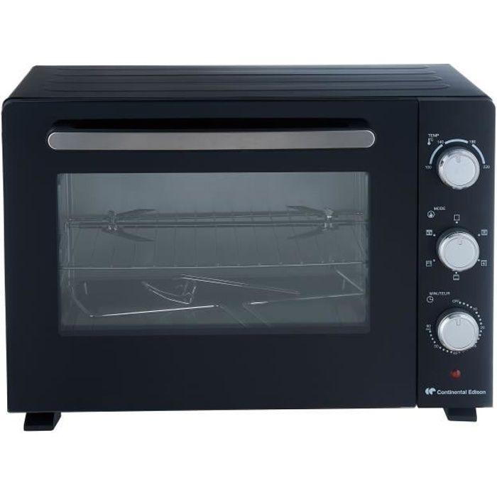 CONTINENTAL EDISON CEMF35B3 - Mini forno elettrico - 36L - Nero - 1500W - Girarrosto, convezione naturale
