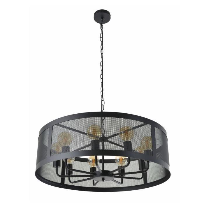 COREP Lampada a sospensione in metallo Stock 9 L - Ø 75 cm - H 114 cm - E 27-40 W - Nero opaco
