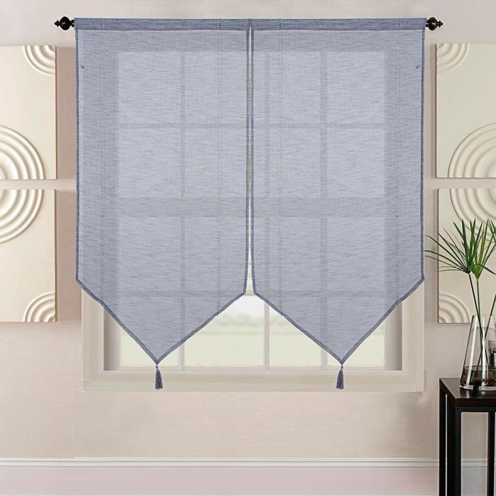 HOMETREND Coppia di vetri extra lunghi effetto lino intrecciato - 60 x 220 cm - Nero