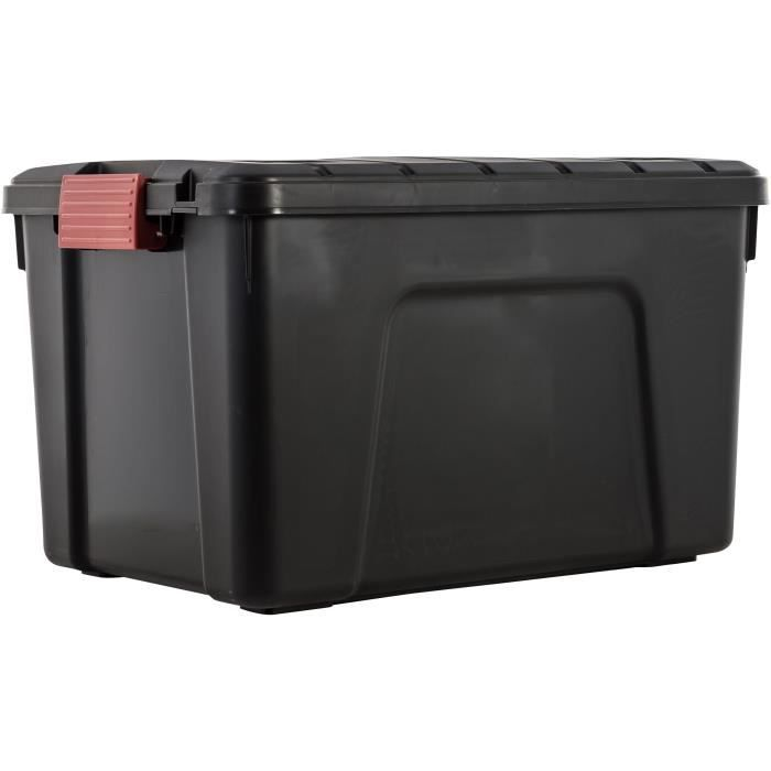 IRIS OHYAMA Lotto di 3 scatole di immagazzinaggio fai-da-te - Conserva tutto - 60 L - Nero e rosso - 59 x 39,5 x 35,5 cm