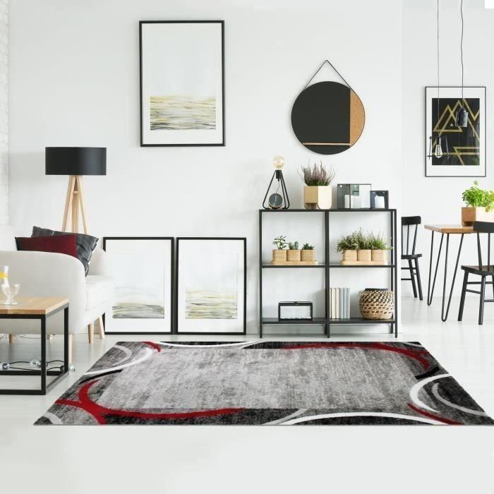 SUBWAY ENCADRE Tappeto da soggiorno in polipropilene - 120x170 cm - Rosso