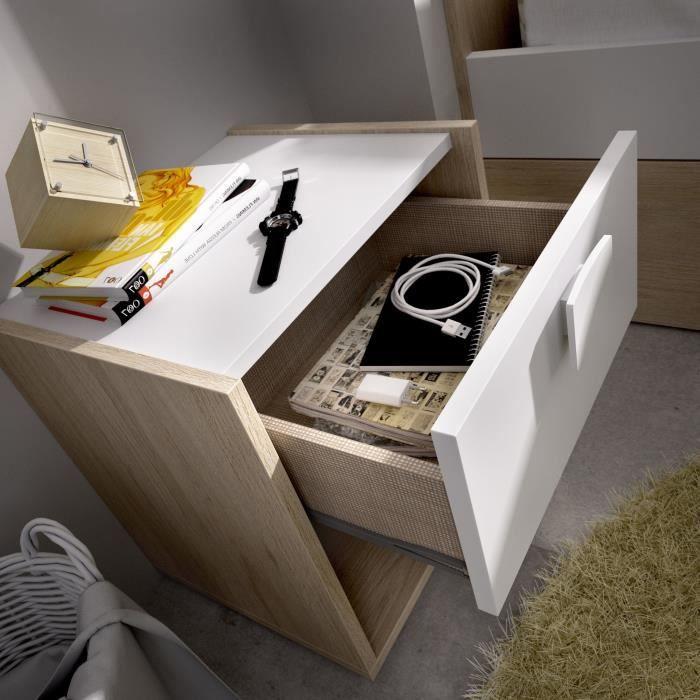 Table de chevet enfant - 1 tiroir - Décor Chene/blanc - L40 x P33 x H42 cm - DINA