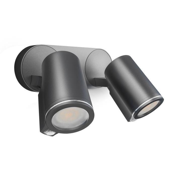 STEINEL Projecteur extérieur avec détecteur Spot DUO Sensor Connect Bluetooth 2x7W 3000K - Anthracite