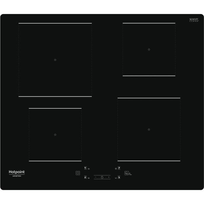 HOTPOINT - HQ5660SNE - Piano cottura a induzione - 4 fuochi - 7200W - L60 cm - Rivestimento in vetro nero