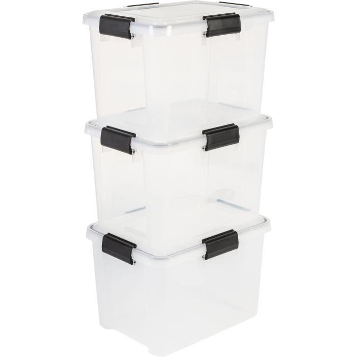 IRIS OHYAMA Lotto di 3 scatole ermetiche - Scatola a tenuta d'aria - AT-SD - Plastica - Trasparente - 28 L - 39 x 29 x 26 cm