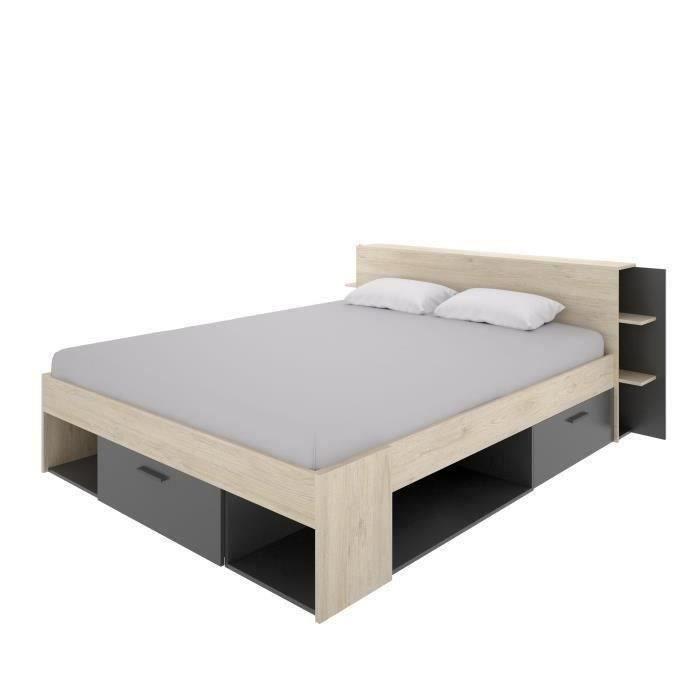Lit adulte 160x200 cm - 3 tiroirs + Tete de lit avec rangement - Décor chene et anthracite - SAX