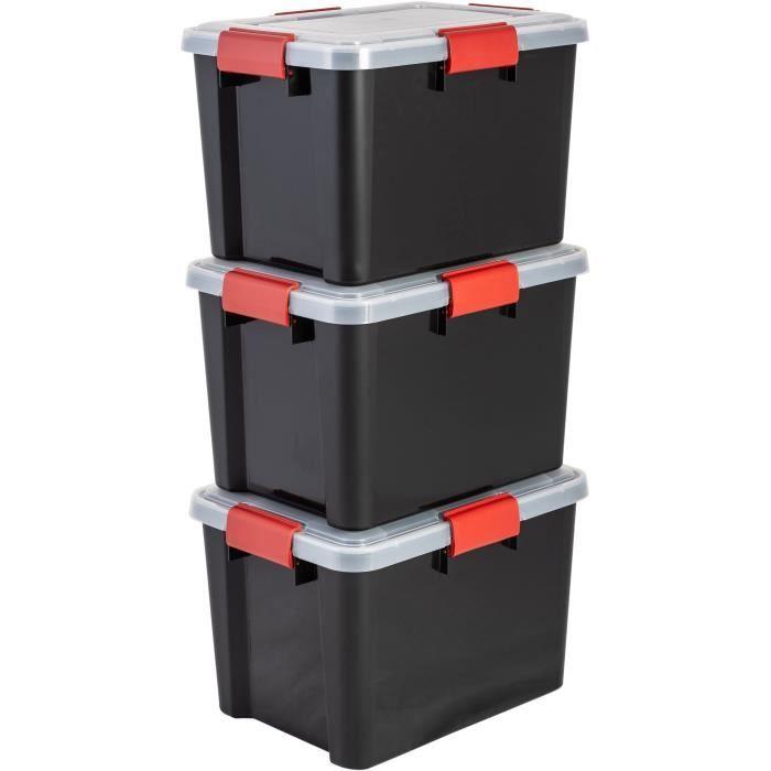 IRIS OHYAMA Lotto di 3 scatole ermetiche - Scatola a tenuta d'aria - AT-SD - Nero e trasparente - 28 L - 39 x 29 x 26 cm