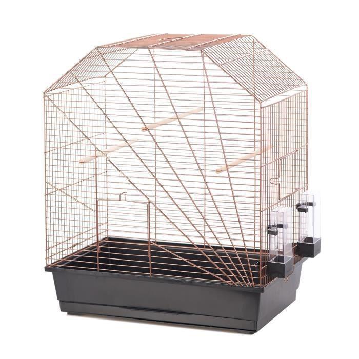 DUVO+ Cage Copper Lexa 54 x 34 x 64,5 cm - 3,5 kg - Noir et cuivre - Pour oiseaux