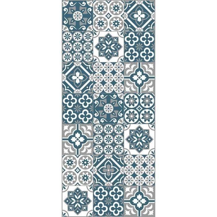 AASTORY Tappeto 100 vinile - Finto cemento piastrella - 49,5x112,5 cm - Spessore 1,5 mm - Blu, bianco e grigio
