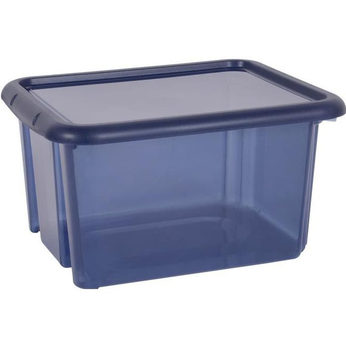 EDA PLASTIQUE Boîte de rangement Funny Box 30 L - Bleu profond acidulé - 44 x 36 x 25 cm