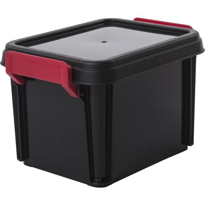 IRIS OHYAMA Lotto di 4 scatole impilabili con coperchio - Multi Box - MBX-2 - Nero, rosso e trasparente - 2 L