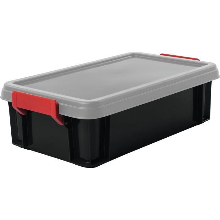 IRIS OHYAMA Lotto di 4 scatole impilabili con coperchio - Multi Box - MBX-4 - Nero, rosso e trasparente - 4 L