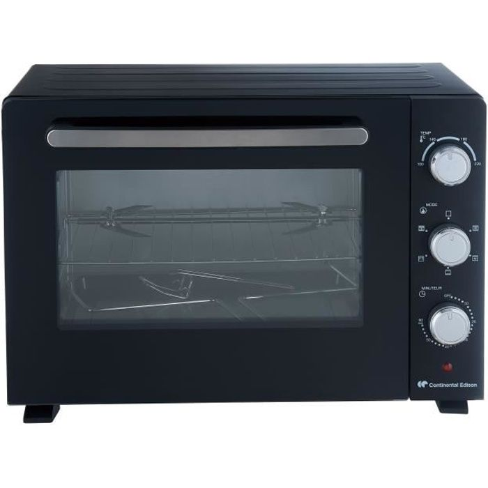 CONTINENTAL EDISON CEMF46B2 - Mini forno elettrico 46L nero - 1800W - Girarrosto - Convezione naturale