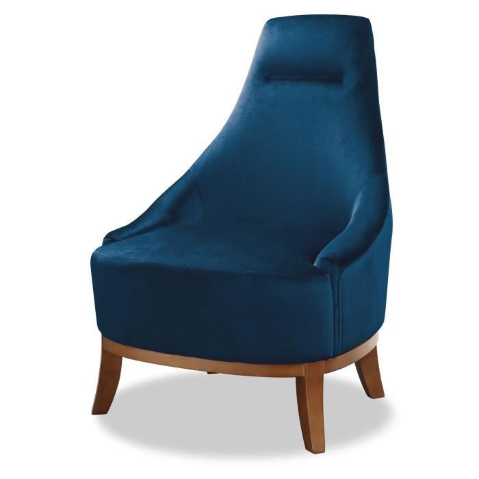 JOSEPH Fauteuil pieds bois Velours bleu - L 64 x P 71 x H 93 cm