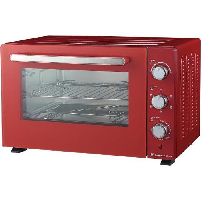 CONTINENTAL EDISON CEMF46R2 - Mini forno elettrico 46L rosso - 1800W - Girarrosto - Convezione naturale
