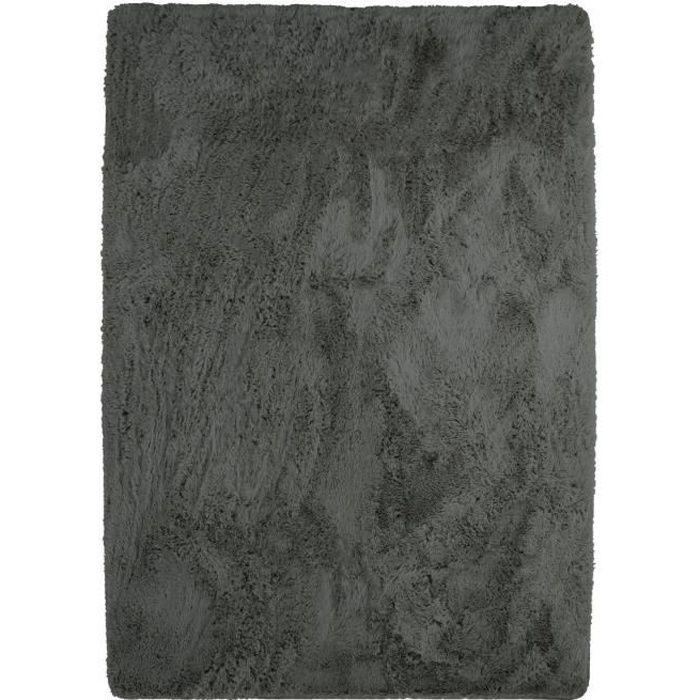 Tappeto NEO YOGA per soggiorno o camera da letto - Microfibra extra morbida - 120x170 cm - Grigio scuro