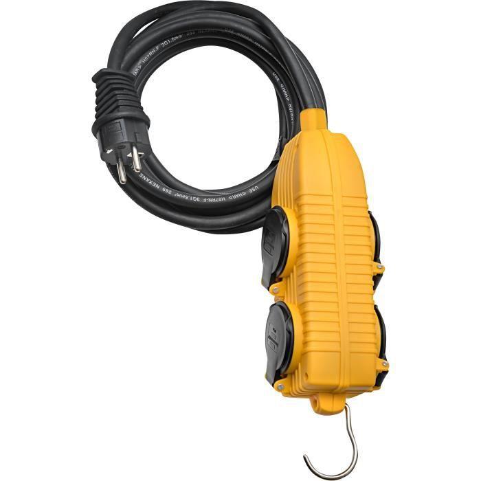 Brennenstuhl Rallonge 5m de câble avec bloc 4 prises a clapet (IP44) - Fabrication Française