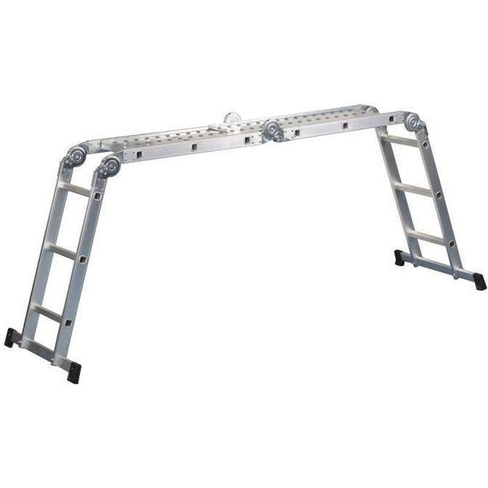 Besole000 Scala articolata a 12 pioli - Piattaforma in acciaio - 4,2 m con base annessa