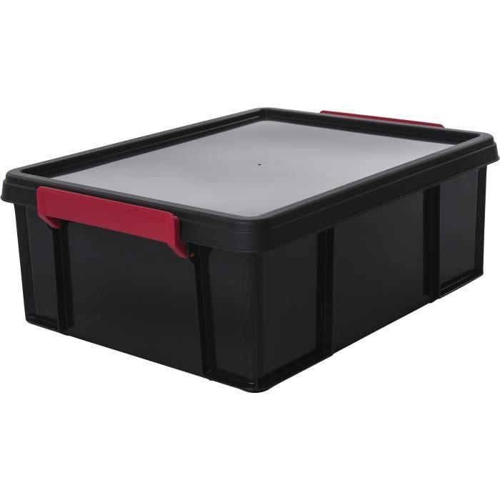 IRIS OHYAMA Contenitore impilabile con coperchio - Multi Box - MBX-18 - Plastica - Nero, rosso e trasparente - 18 L