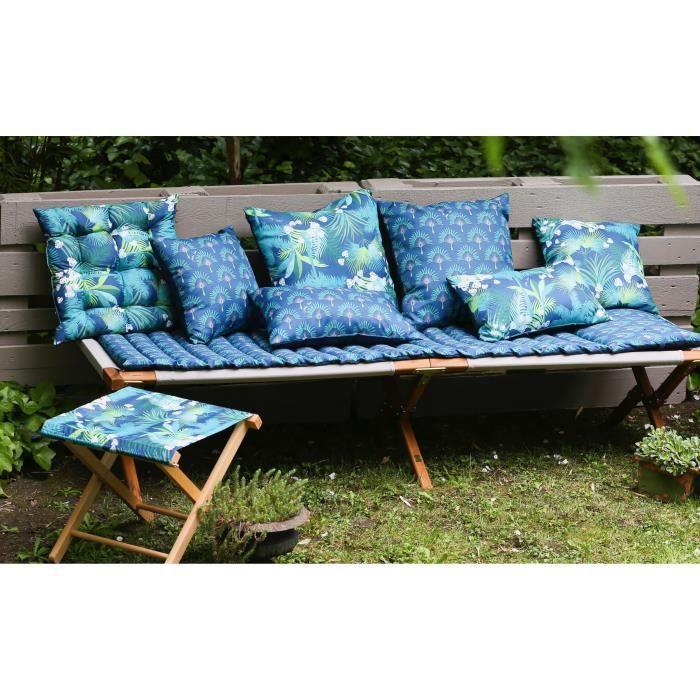 JARDIN PRIVE Assise de chaise Flocons Goa - 38 x 38 x 8 cm - Marine