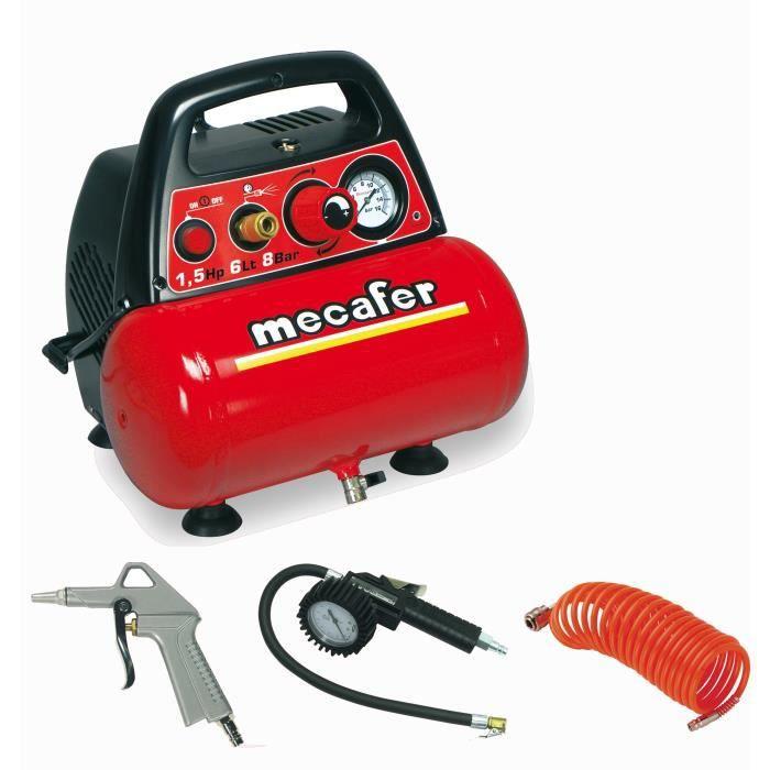 MECAFER Compressore NEW VENTO 6 L 1,5 HP 8 bar - Con 3 accessori