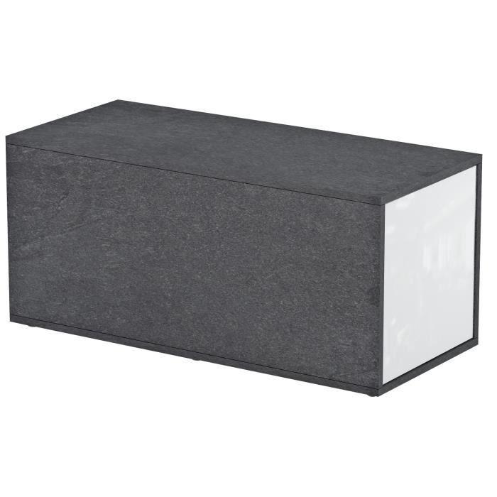 GUMMY Table basse style contemporain mélaminée blanc et décor marbre - L 90-150 x l 41 cm