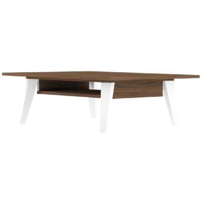 PRISM Table basse scandinave mélaminée décor noyer et blanc mat - L 89 x l 67 cm