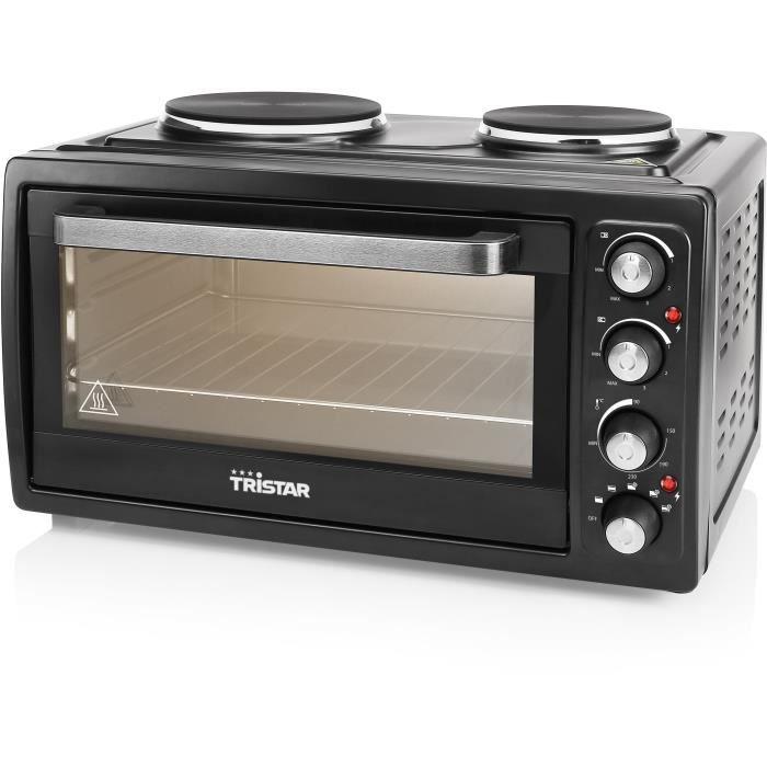 TRISTAR OV-1443-Mini forno con 2 piastre elettriche sulla parte superiore-38 L-3100 W-Funzione aria calda-Nero