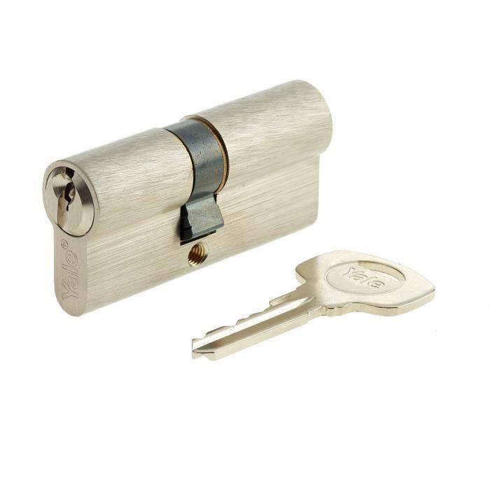 YALE Cilindro serie 500 30x30 mm nichelato, 5 perni, 3 chiavi