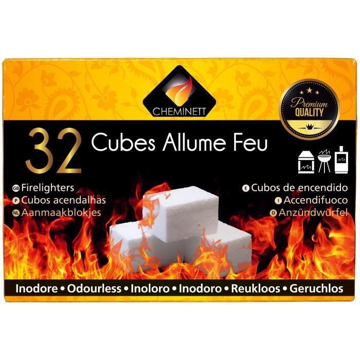 CHEMINETT Allume feu cubes blancs paraffine sans odeur désagréable - 32 cubes blancs - plaque prédécoupée