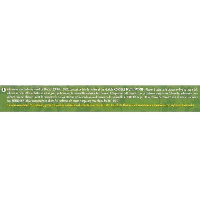 CHEMINETT Allume feu cubes Bois 100% d'origine végétale FSC - 64 cubes - double plaque prédécoupée
