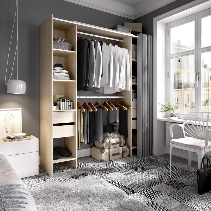 Dressing extensible avec rideau + 4 tiroirs - Décor chene naturel - L 180-113 x P 50 x H 205 cm - SUIT