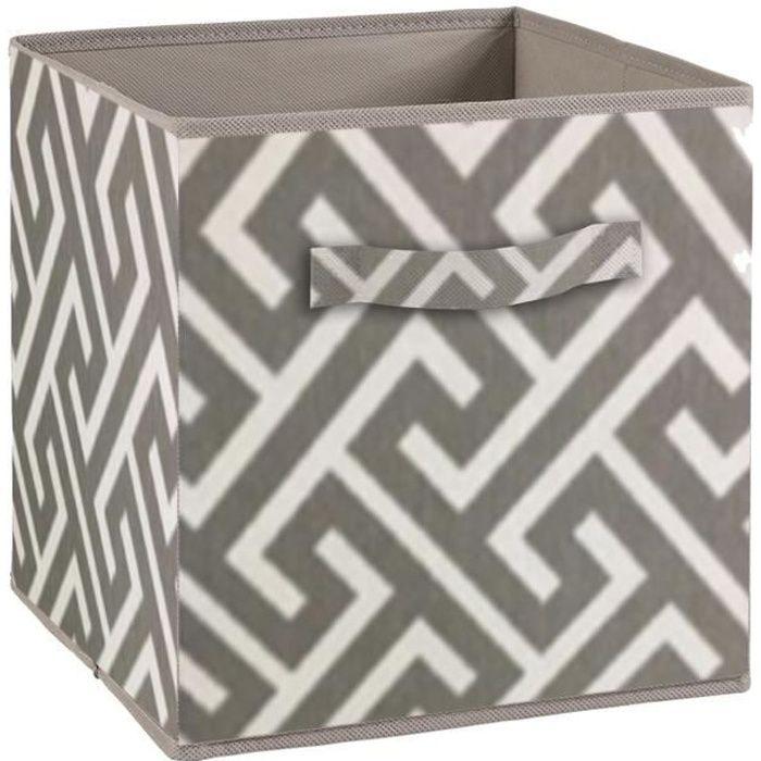 Cassetto portaoggetti COMPO - Tessuto - 27 x 27 x 28 cm - Motivo a labirinto - Grigio e bianco
