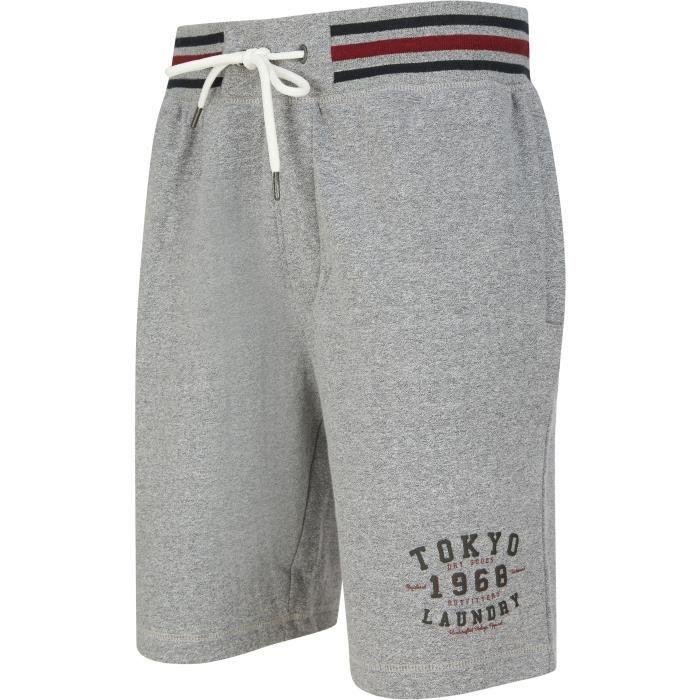 TOKYO LAUNDRY Short Molleton Gris Chiné Homme