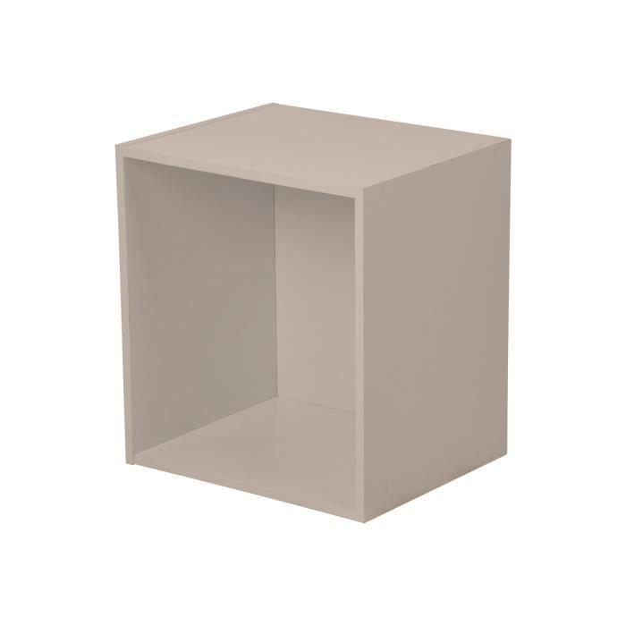 HOMEA Cube de rangement avec 1 niche 34,4x34,4x29,5 cm taupe
