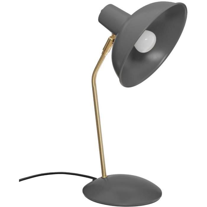 Lampada da tavolo in metallo - E14 - 25 W - H. 38 cm - Grigio