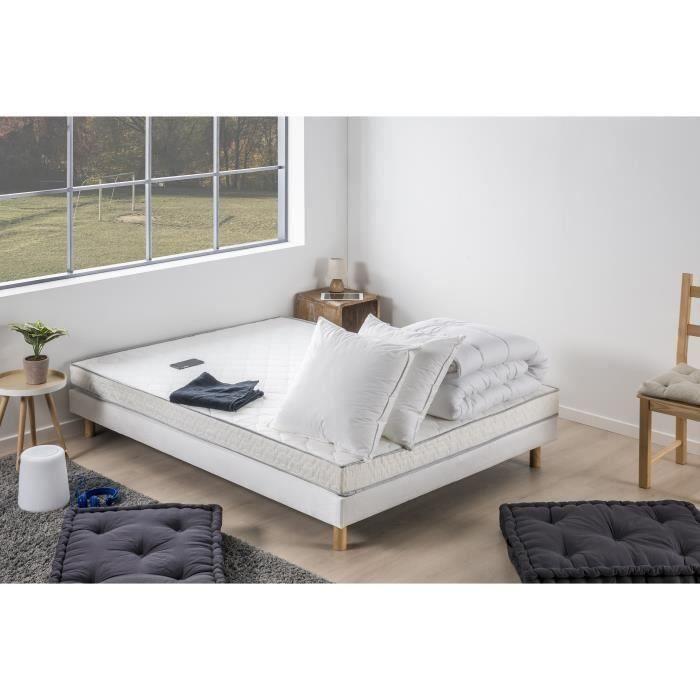DEKO DREAM TOP - Pack pret a dormir Matelas 140x190 cm + Sommier + Couette + 2 oreillers 60x60 cm -  14 cm