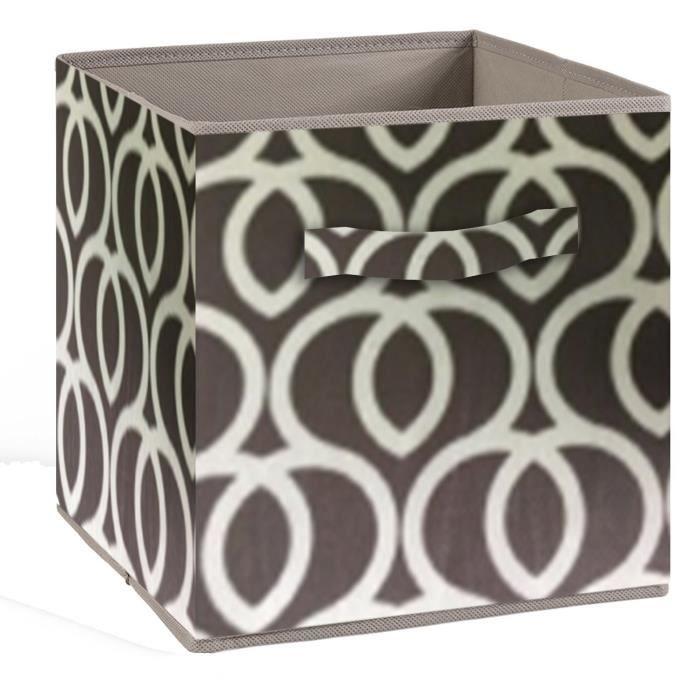 Cassetto portaoggetti COMPO - Tessuto - 27 x 27 x 28 cm - Motivo circolare - Marrone e bianco