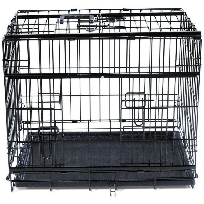VADIGRAN Cage métallique pliable Premium - 61 x 46 x 53 cm - Noir - Pour chien
